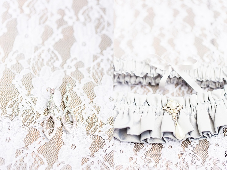 close up of garter and ear rings