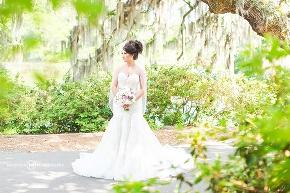 gorgeous wedding dress in garden