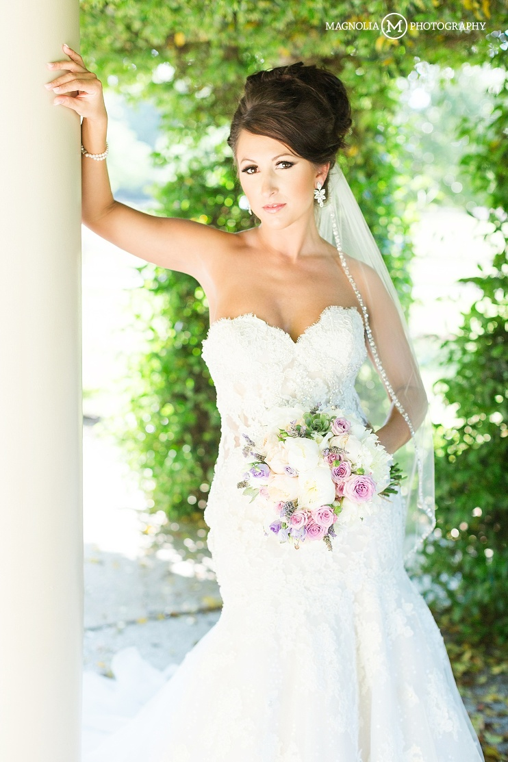 bride in strapless eve of milady wedding gown