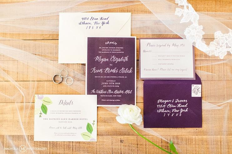purple wedding invitation suite