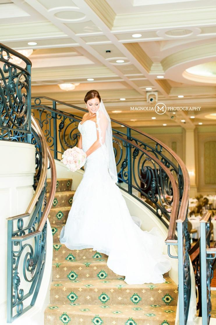 on the ballroom staircase