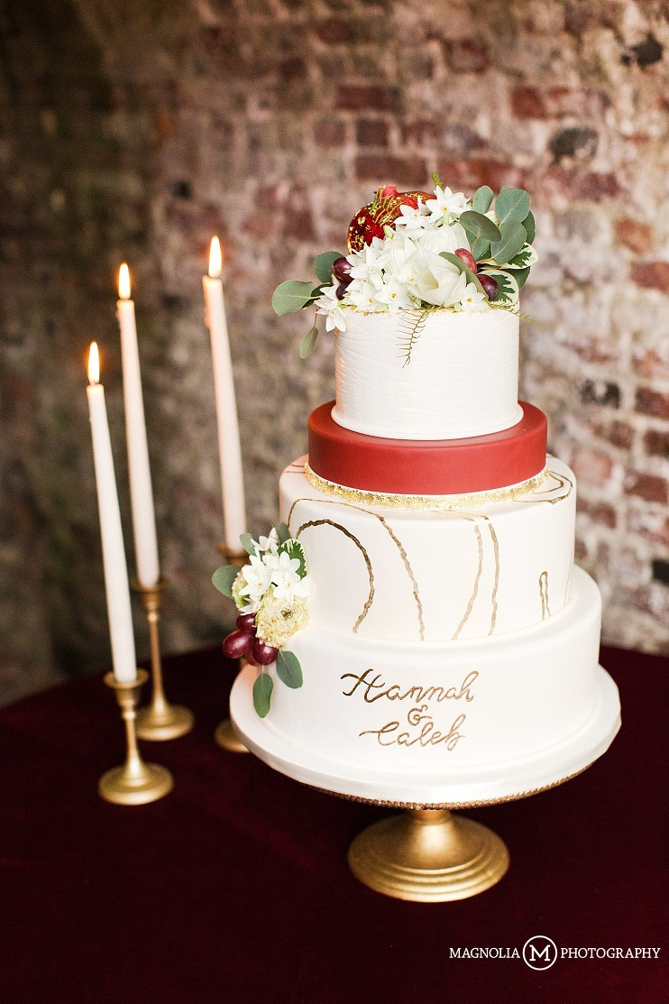 romantic cake with hand lettered icing