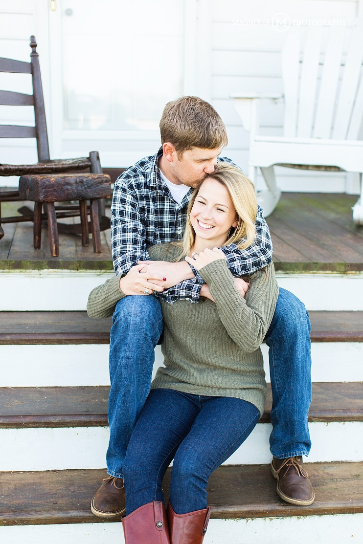 fall engagement session on front porch